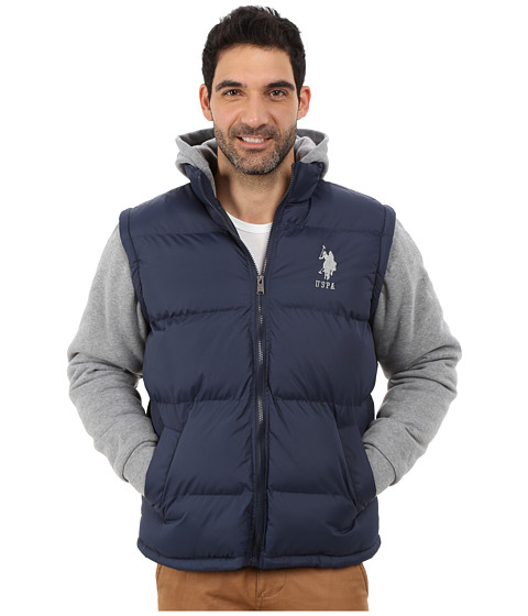 Imbracaminte Barbati US Polo Assn Puffer Vest with Fleece Sleeves and Hood Classic Navy