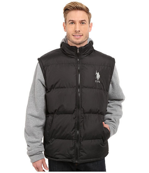 Imbracaminte Barbati US Polo Assn Puffer Vest with Fleece Sleeves and Hood Black
