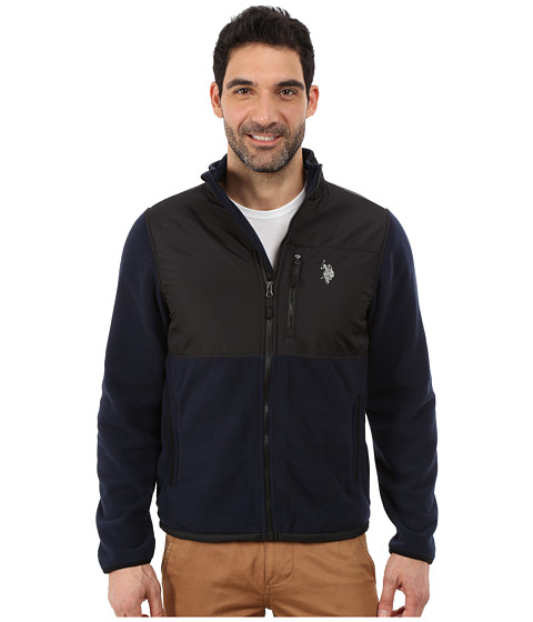 Imbracaminte Barbati US Polo Assn Polar Fleece Mock Neck Jacket Classic Navy