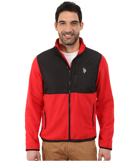 Imbracaminte Barbati US Polo Assn Polar Fleece Mock Neck Jacket Engine Red