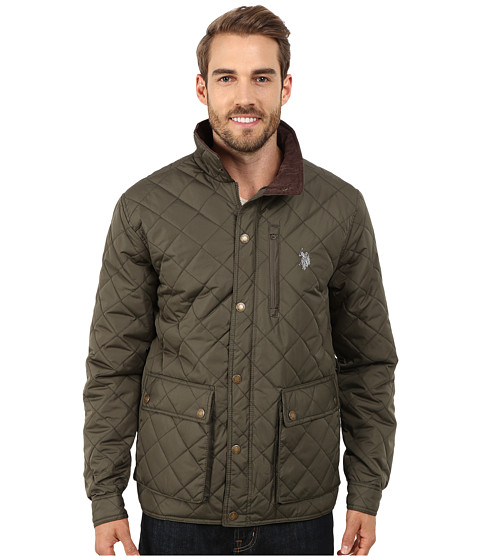 Imbracaminte Barbati US Polo Assn Diamond Quilted Jacket Forest Night