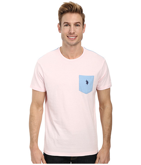 Imbracaminte Barbati US Polo Assn Crew Neck Color Block Pocket T-Shirt Pink Champagne Heather