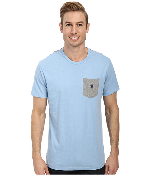 Imbracaminte Barbati US Polo Assn Crew Neck Color Block Pocket T-Shirt Yale Blue Heather