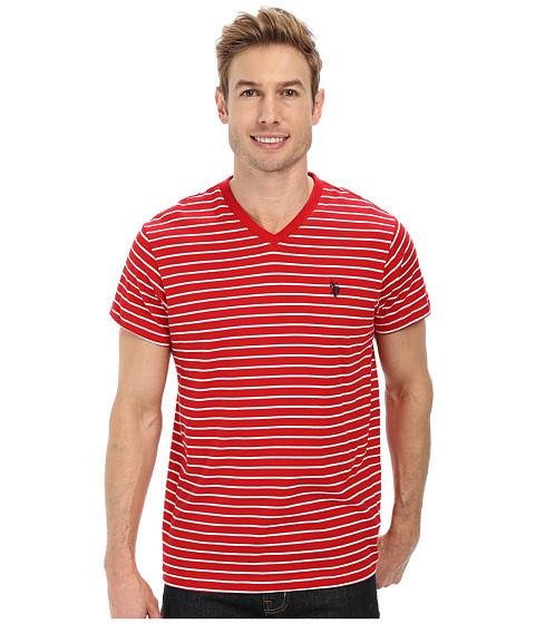 Imbracaminte Barbati US Polo Assn Thin Stripe V-Neck T-Shirt Engine Red