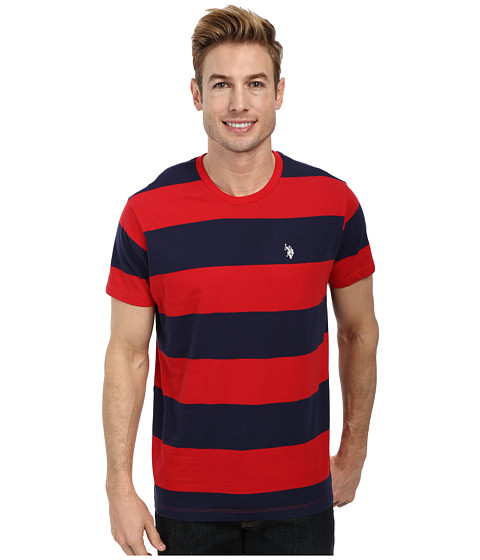 Imbracaminte Barbati US Polo Assn Wide Stripe T-Shirt Engine Red