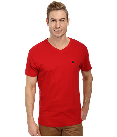 Imbracaminte Barbati US Polo Assn V-Neck Short Sleeve T-Shirt Engine Red