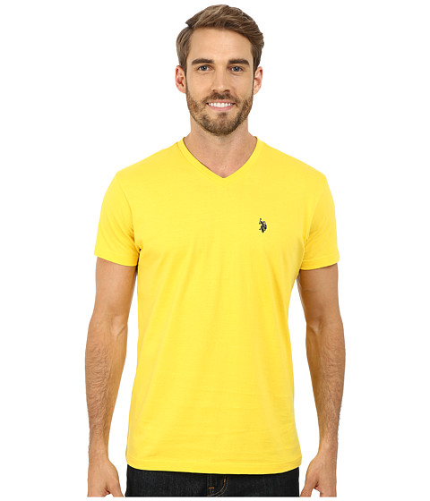 Imbracaminte Barbati US Polo Assn V-Neck Short Sleeve T-Shirt Preppy Yellow