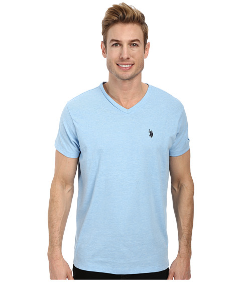 Imbracaminte Barbati US Polo Assn V-Neck Short Sleeve T-Shirt Yale Blue Heather