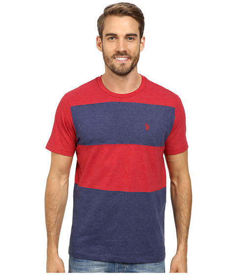 Imbracaminte Barbati US Polo Assn Cut and Sewn Wide Stripe T-Shirt Red Heather