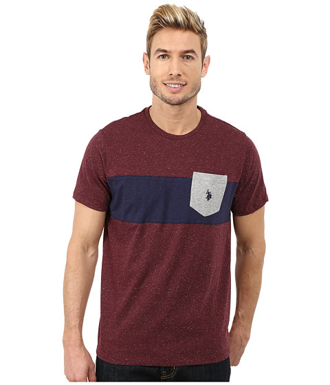 Imbracaminte Barbati US Polo Assn Chest Stripe Pocket T-Shirt Burgundy Fleck