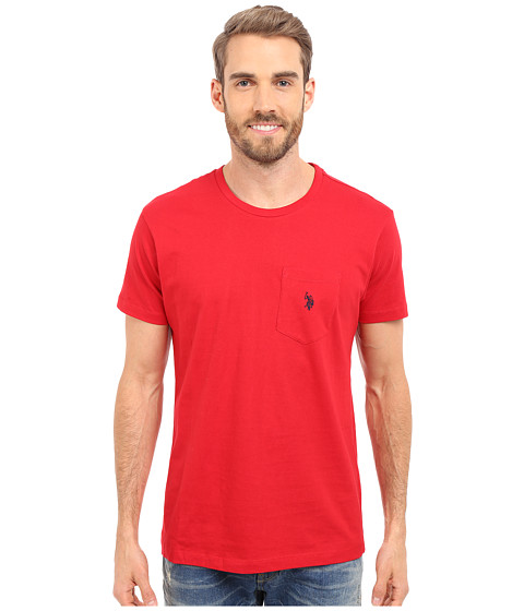 Imbracaminte Barbati US Polo Assn Solid Crew Neck Pocket T-Shirt Engine Red