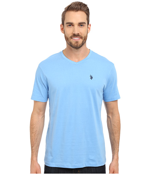 Imbracaminte Barbati US Polo Assn Short Sleeve Solid V-Neck T-Shirt Blue Coast