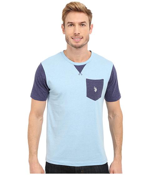 Imbracaminte Barbati US Polo Assn Crew Neck Pocket T-Shirt Yale Blue Heather