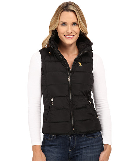 Imbracaminte Femei US Polo Assn Puffer Vest with Faux Fur Collar Black