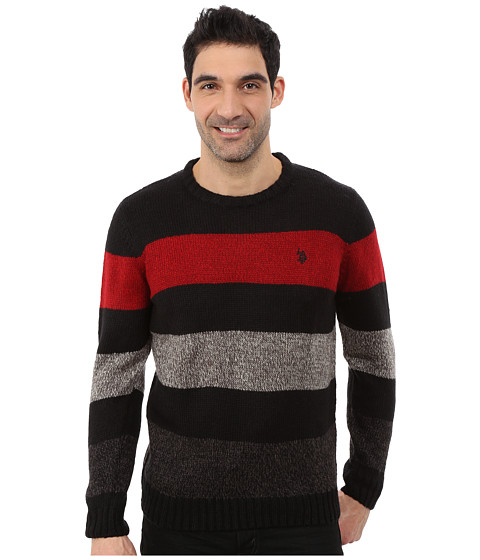 Imbracaminte Barbati US Polo Assn Crew Neck Stripe Sweater Black