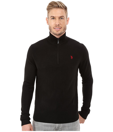 Imbracaminte Barbati US Polo Assn Solid 14 Zip Sweater Black