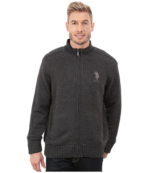 Imbracaminte Barbati US Polo Assn Sherpa Lined Sweater Charcoal Heather