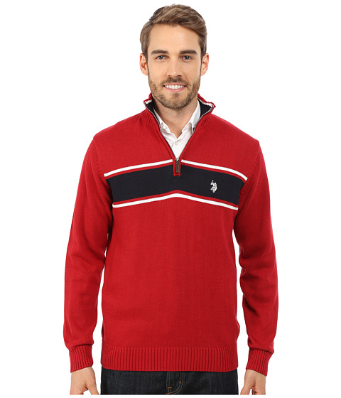 Imbracaminte Barbati US Polo Assn 14 Zip Sweater Apple Cinammon