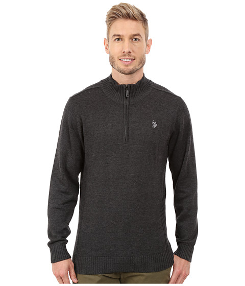 Imbracaminte Barbati US Polo Assn 14 Zip Solid Sweater Charcoal Heather