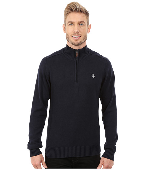 Imbracaminte Barbati US Polo Assn 14 Zip Solid Sweater Navy