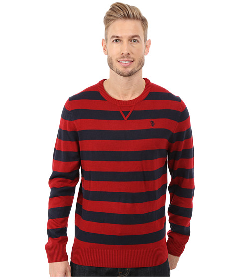 Imbracaminte Barbati US Polo Assn Striped Crew Neck Sweater Apple Cinammon