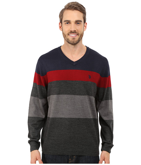 Imbracaminte Barbati US Polo Assn Long Sleeve Stripe Vee Neck Navy