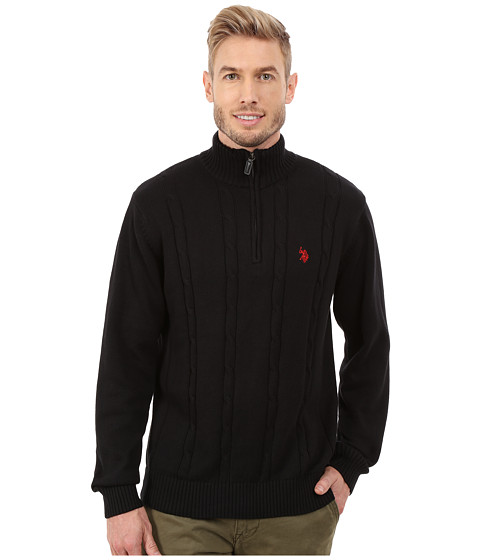 Imbracaminte Barbati US Polo Assn 14 Zip Cable Sweater Black