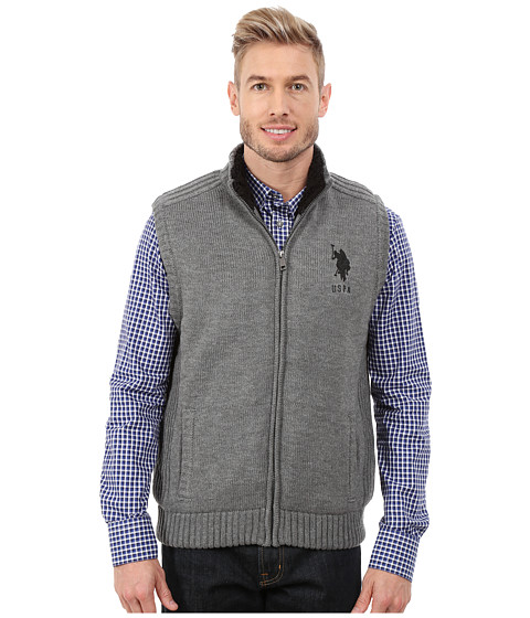 Imbracaminte Barbati US Polo Assn Sherpa Lined Vest Moon Heather