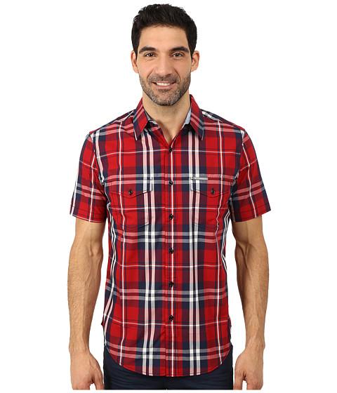 Imbracaminte Barbati US Polo Assn Slim Fit Short Sleeve Plaid Sport Shirt Apple Cinnamon