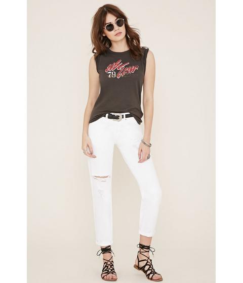 Imbracaminte Femei Forever21 Distressed Boyfriend Jeans White denim