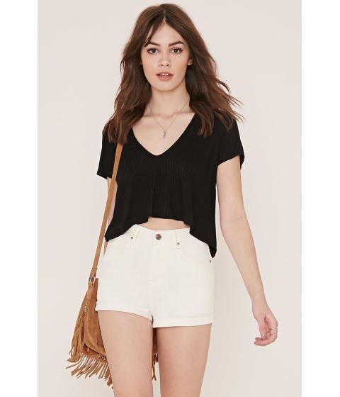 Imbracaminte Femei Forever21 High-Waisted Denim Shorts Cream