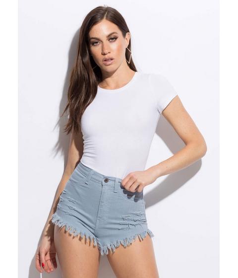 Imbracaminte Femei CheapChic High n Bye Denim Shorts Dustyblue