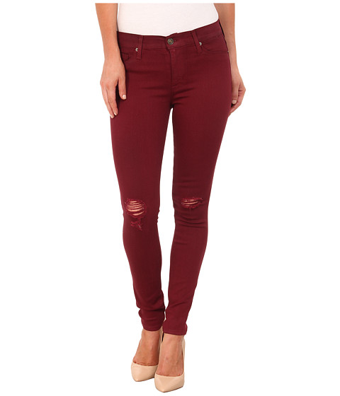Imbracaminte Femei Hudson Coated Nico Mid Rise Skinny Jeans in Crimson Wax Destructed Crimson Was Destructed