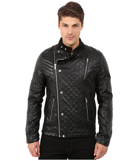 Imbracaminte Barbati Members Only Faux Leather Quilted Motocross Jacket Black