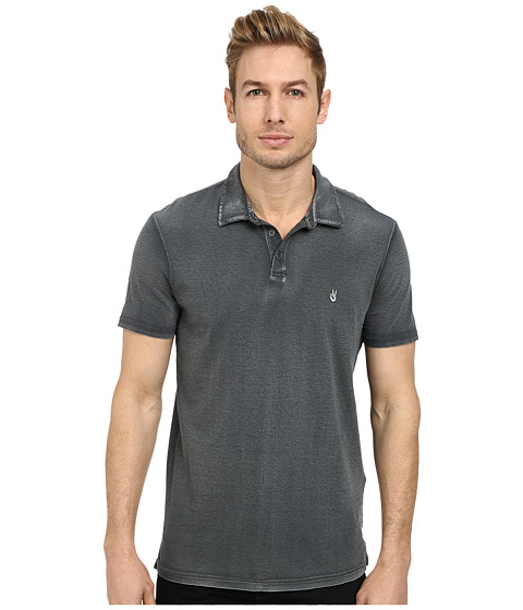 Imbracaminte Barbati John Varvatos Soft Collar Peace Polo with Contrast Stitching and Peace Sign Chest Embroidery Shark