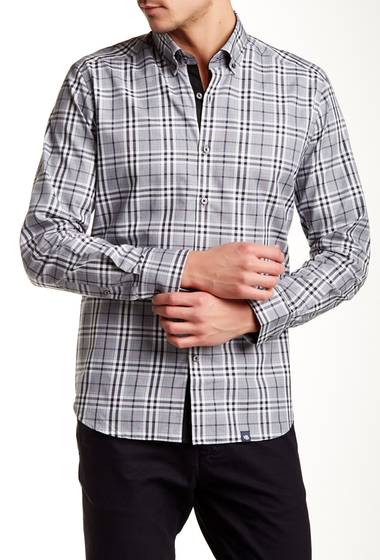 Imbracaminte Barbati Stone Rose Plaid Long Sleeve Regular Fit Shirt NVY-BLK-WHT