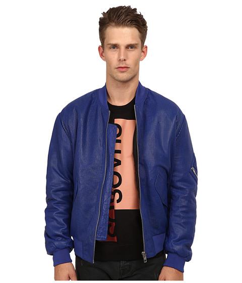 Imbracaminte Barbati McQ Leather Bomber CobaltDarkest Black
