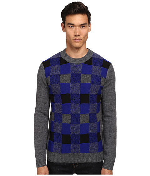 Imbracaminte Barbati McQ Check Crew Neck Sweater Dark Grey Check