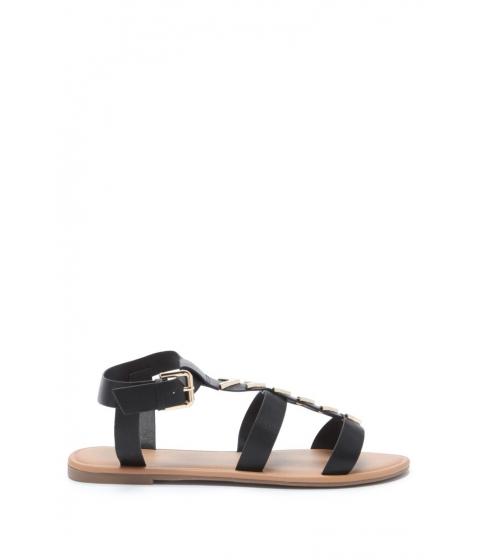 Incaltaminte Femei Forever21 Chevron Faux Leather Sandals Black