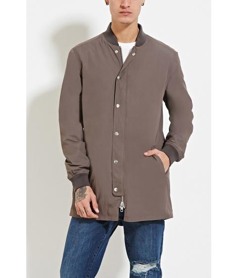 Imbracaminte Barbati Forever21 Longline Bomber Jacket Grey