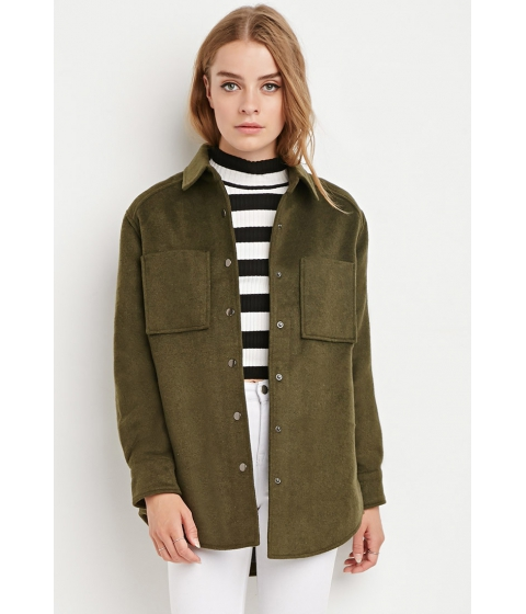 Imbracaminte Femei Forever21 Boxy Quilted Overcoat Olive