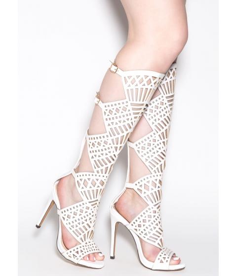 Incaltaminte Femei CheapChic In The Works Gladiator Heels White