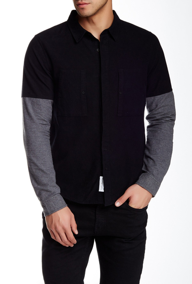 Imbracaminte Barbati NATIVE YOUTH Solid Long Sleeve Trim Fit Shirt BLACK-GREY