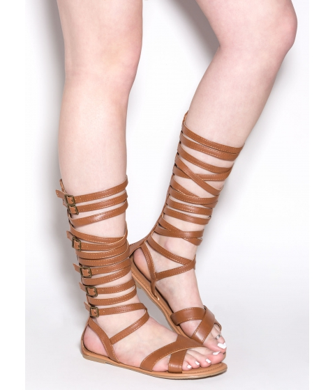 Incaltaminte Femei CheapChic Crossed Wires Gladiator Sandals Cognac