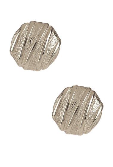 Bijuterii Femei Savvy Cie Italian Textured Button Earrings WHITE