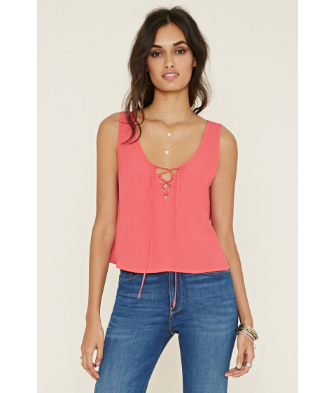 Imbracaminte Femei Forever21 Lace-Up Crepe Tank Coral