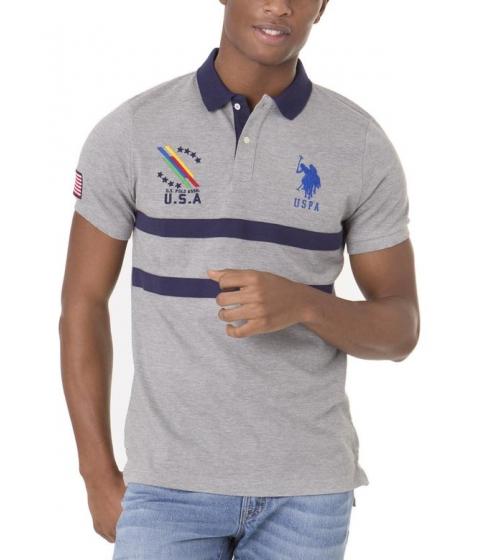 Imbracaminte Barbati US Polo Assn USA CHEST STRIPE Polo Shirt Heather Gray