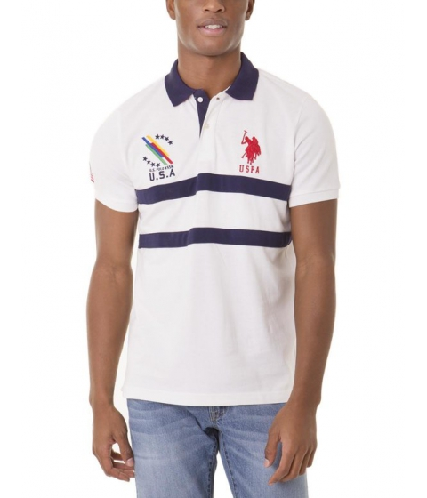 Imbracaminte Barbati US Polo Assn USA CHEST STRIPE Polo Shirt White