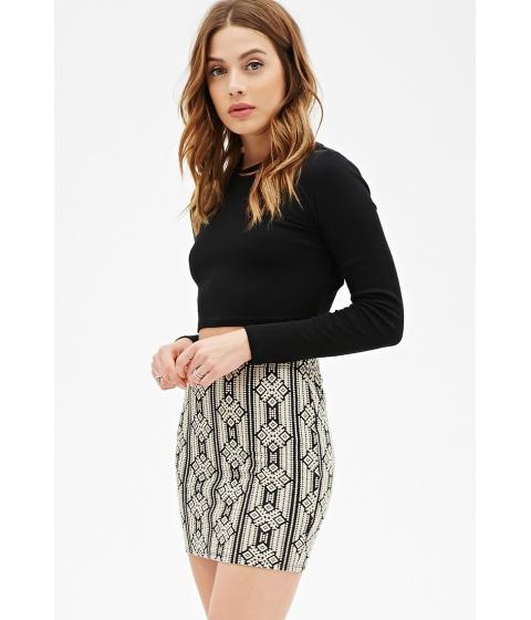 Imbracaminte Femei Forever21 Geo Striped Mini Skirt Taupeblack