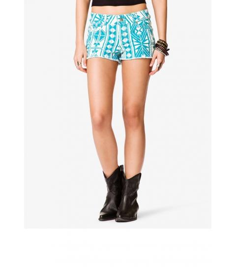 Imbracaminte Femei Forever21 Southwestern Print Denim Shorts Creamturquoise